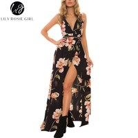 Lily Rosie Girl Women 2017 Black Off Shoulder Sexy Floral Boho Deep V Neck Summer Maxi
