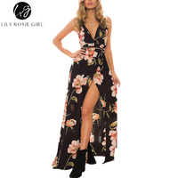 Lily Rosie Girl Women 2017 Black Off Shoulder Sexy Floral Boho Deep V Neck Summer Maxi