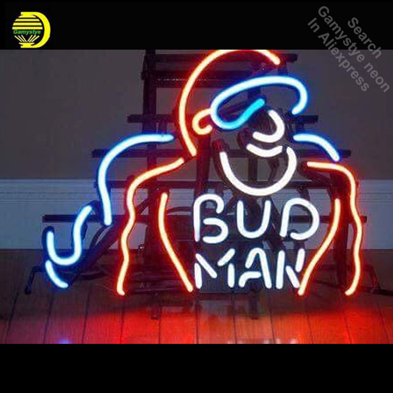 Neon Sign for Bud Man Neon Bulb sign Business Hotel Display Handmade Glass tube neon lights for sale Bar Pub Light metal frameNeon Sign for Bud Man Neon Bulb sign Business Hotel Display Handmade Glass tube neon lights for sale Bar Pub Light metal frame