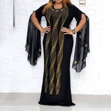 Casual Plus Size Party Dress Women Blue Maxi Sexy Club African Summer Long Dresses Elegant Black Bodycon Flare Sleeve Female 2XL 2019 plus size party dresses women summer long maxi dress casual slim elegant dress bodycon female beach dresses for women 3xl