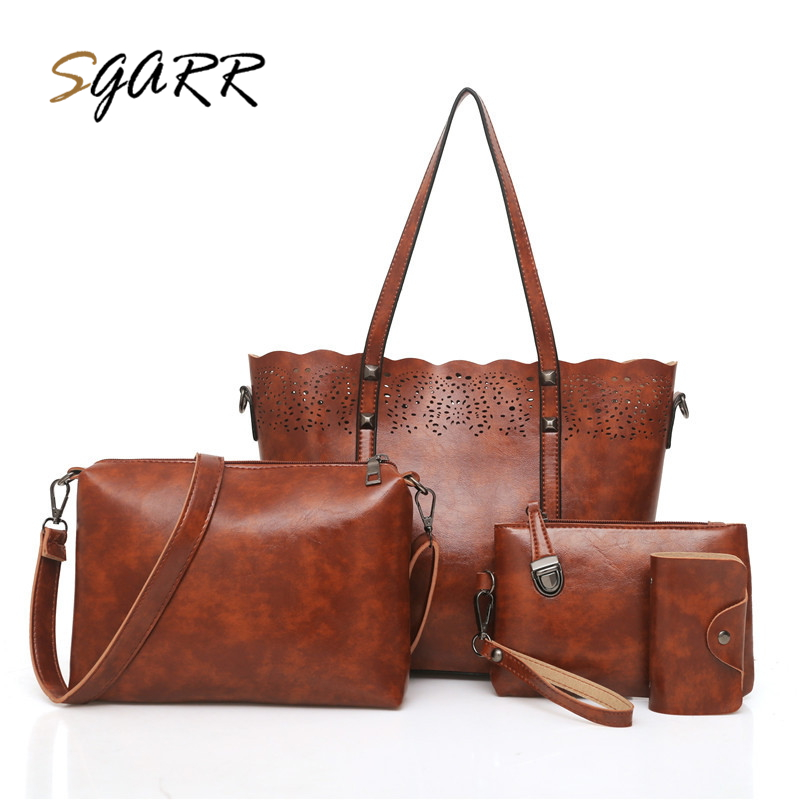 SGARR Oil Wax PU Leather Women Shoulder Handbags Fashion Hollow Out 4 Piece Set Big Crossbody Bag Large Capacity Casual Tote Bag woma engineering architecture education model urban engineering vehicles building blocks children toys compatible with legoe