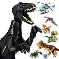 16 stücke Dinos Spielzeug Bebaubare Dinosaurier Bausteine mit Beweglichen Backen Einschließlich T Rex Triceratops Velociraptor spielzeug