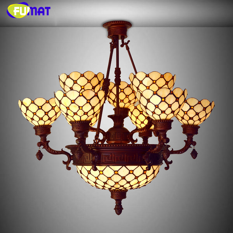 FUMAT Stained Glass Lamp European Style Antique Chandelier Complex Classic Living Room Hotel Glass Art Lamp Curtains Beads Lamp fumat stained glass roses lightings modern art pendant light for living room restaurant lamp european style pendant lamp lights