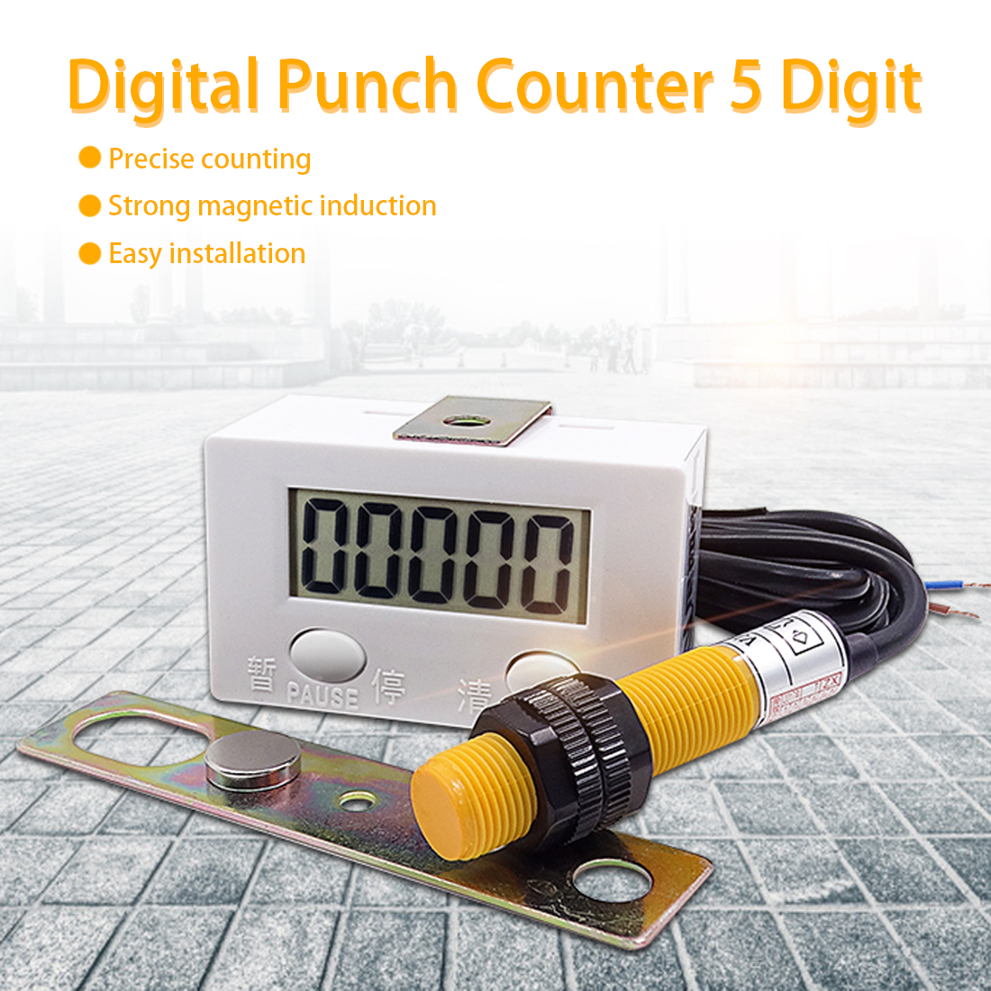 12V 4Digit Red LED Counter Meter with Relay Output+Proximity Switch Sensor NPN