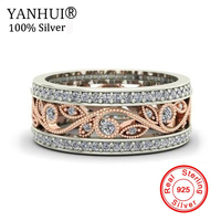 YANHUI Women New Charm Flowers Ring 925 Sterling Silver Wedding Jewelry Natural Zircon CZ Gold Color