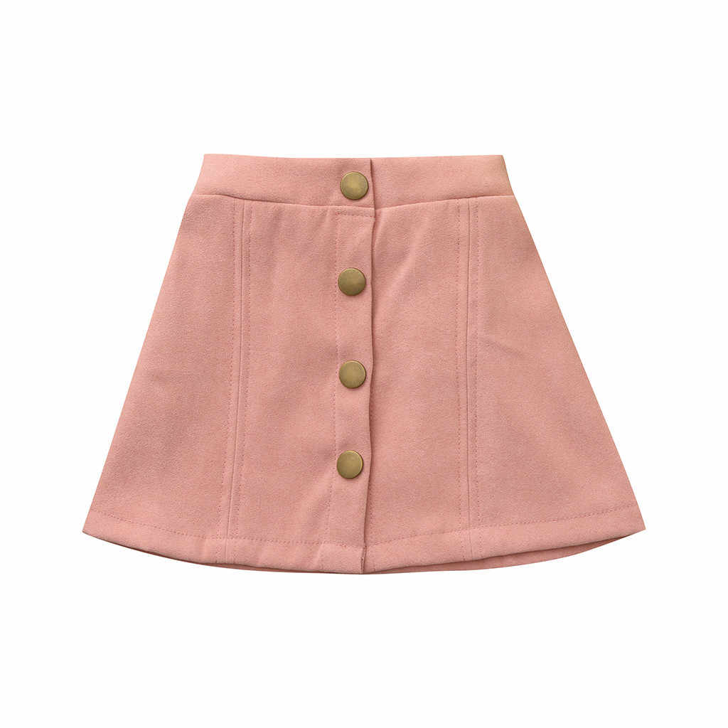 Novo 2019 moda cor sólida pequena saia babes criança infantil do bebê meninas botton sólida saia praia vestir saia de sol outfits