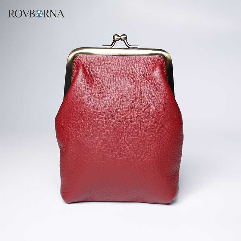 ROVBORNA Genuine Leather Square Vintage Womens Coin Purse Clutch Metal Hasp Solid Card Money Pocket Novelty Bag Girls Purses