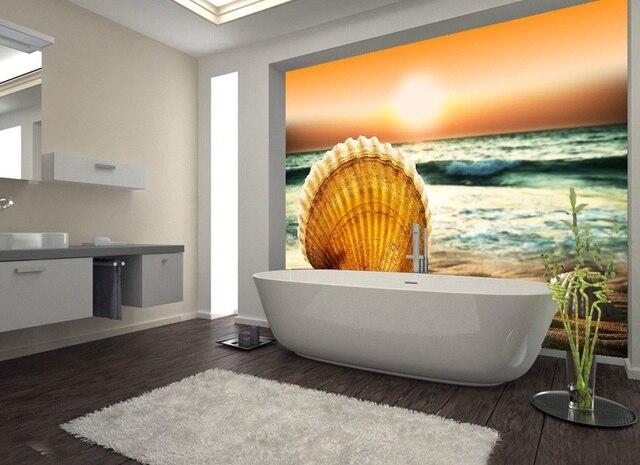 Grand 3D Stickers Muraux Rayons Scéniques Bord De Mer Coquilles Douche  Baignoire Art Mural Stickers De