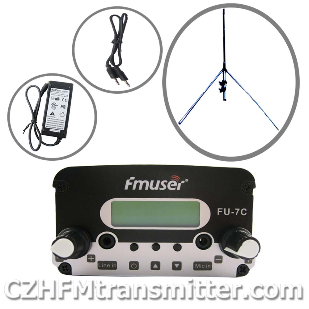 FMUSER FU-7C 7w stereo PLL broadcast transmitter 1/4 wave GP antenna Powersupply 76MHz-108MHz new 10 1 inch touch screen for oysters t12 t12d t12v 3g tablet digitizer sensor replacement ycf0464 a black white