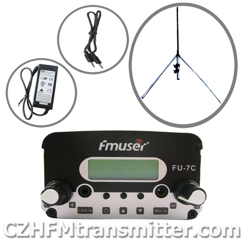 FMUSER FU-7C 7w stereo PLL broadcast transmitter 1/4 wave GP antenna Powersupply 76MHz-108MHz