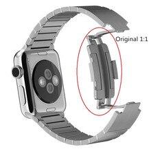1:1 оригинальный 42 мм 38 мм Пространство Черный Ссылку Браслет из нержавеющей стали Для Apple Watch band закрытие застежка ремешка для iwatch