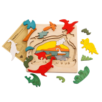 Free Shipping Dinosau Animal Transport Multi Dimensional Jigsaw Wooden Puzzle ChildrenToy