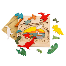 Wooden Puzzle font b Toys b font Kids Dinosau Animal Transport Multi dimensional Jigsaw Wooden Learning