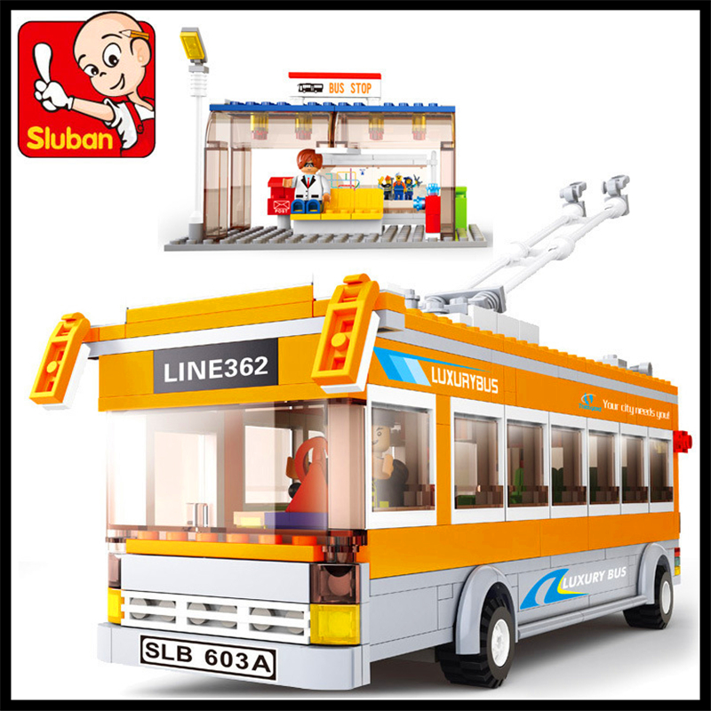 457Pcs City Trolley Bus Model Building Block SLUBAN 0332 Construction Figure Toys Gift For Children Compatible Legoe new lepin 16008 cinderella princess castle city model building block kid educational toys for children gift compatible 71040
