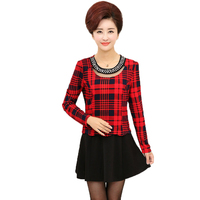 WAEOLSA Chinese Woman Plaid Dress Black Red O Neck Robe Femme Office Outfits Middle Aged Womens