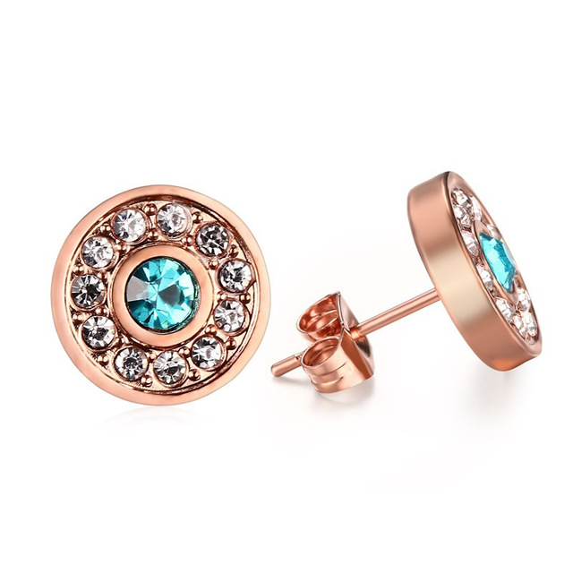 27d412278128 12mm pendientes Rosa oro color acero inoxidable pendientes redondos planos  para mujer y con rhinestone