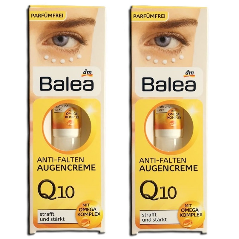 2PCS Original Germany Balea Q10 Omega Complex ANTI AGING Anti-Wrinkle Eye Cream tightens eye skin fight swelling dark circles