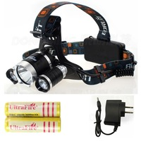 3 led headlamp CREE XML T6 6000 Lumens Rechargeable Headlights frontale lamp +2 pcs 18650 battery+ charger