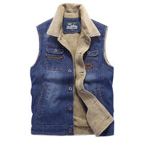 M~4XL 2017 Retro Warm Denim Fleece Jackets Vest Men Jeans Coats Winter Jackets Brand Clothing Thicken Denim Coat Men Waistcoat