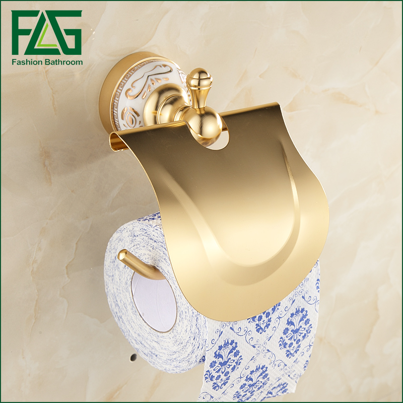 FLG European Space Aluminum Wall Mounted Toilet Paper Roll Holder Gold Toilet Tissue box Paper Towel Rack Bathroom Accessories space aluminum paper holder roll tissue holder hotel works toilet roll paper tissue holder box waterproof design