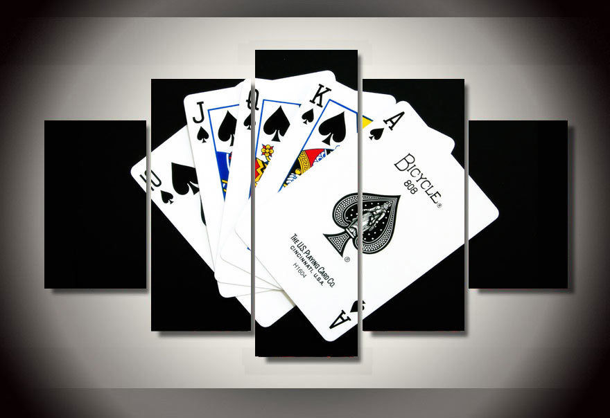 Modern Indoor Decor Original E4 Poker cards print canvas decoration 5 pieces