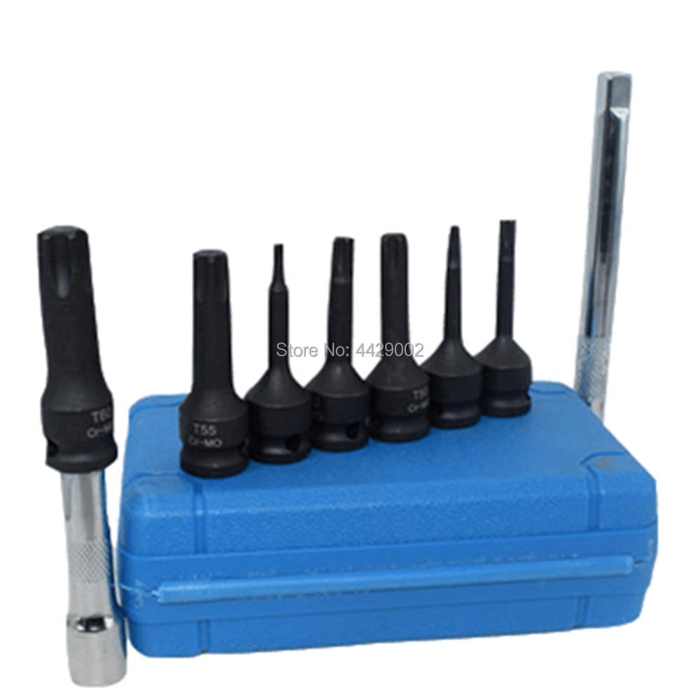Handwerkzeuge 7 Stücke Auswirkungen Spline Bit Buchse T20 T25 T30 T40 T50 T55 T60 3 6 Socket Extension Bar 3/8 Stick Steckschlüssel Bar Verlängerung Moderate Kosten