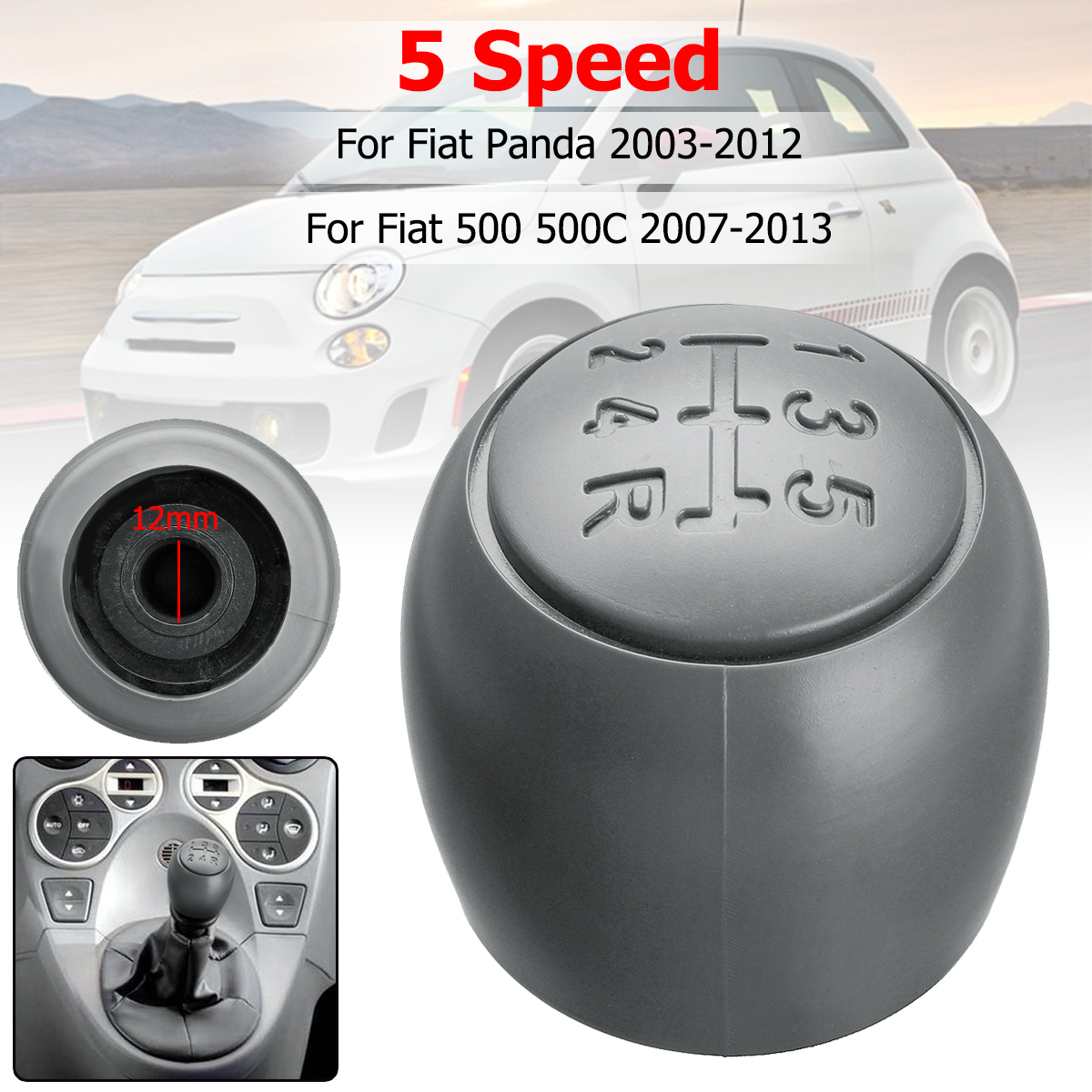 цена на 5 Speed Manual Car Gear Shift Knob Head Auto Shifter Knob For Fiat 500 500c Panda 2003-2012