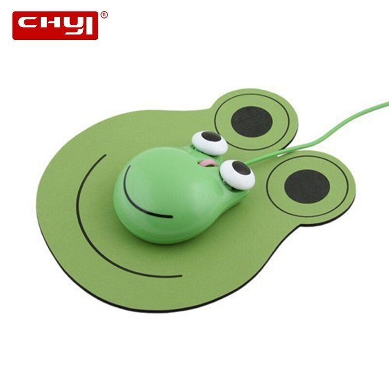 CHYI Cute Cartoon Jumping Frog Design Wired Mouse USB Optical Computer Mice 1600 DPI 3D Mini Kids Mause With Mouse Pad For Gift
