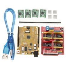 CNC Shield V3 Expansion Board + 4xA4988 Step Motor Driver Module + UNO R3 Board kit For Arduino 3D Printer cnc shield expansion board v3 0 4pcs drv8825 stepper motor driver with heatsink with uno r3 board