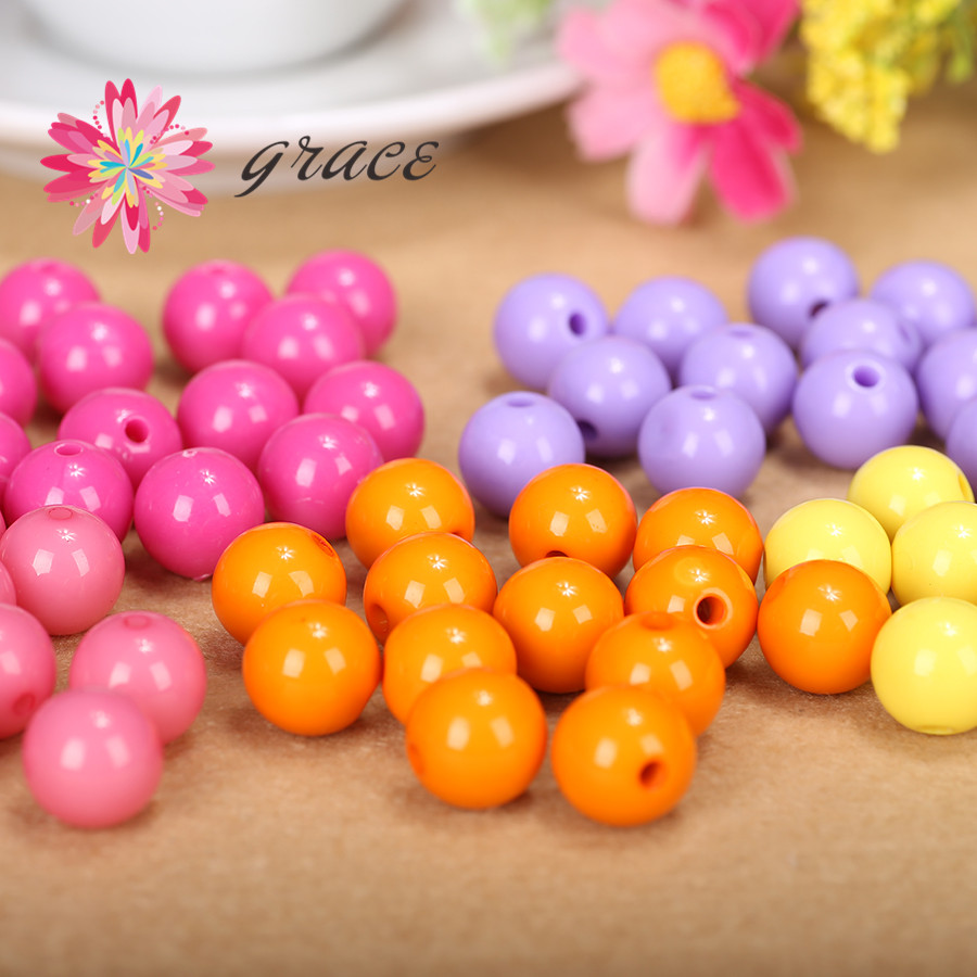 Craft beads in bulk - 50pc Lot 12mm Spring Candy Multicolor Bubblegum Round Acrylic Solid Chunky Gumball Spacer Loose Beads