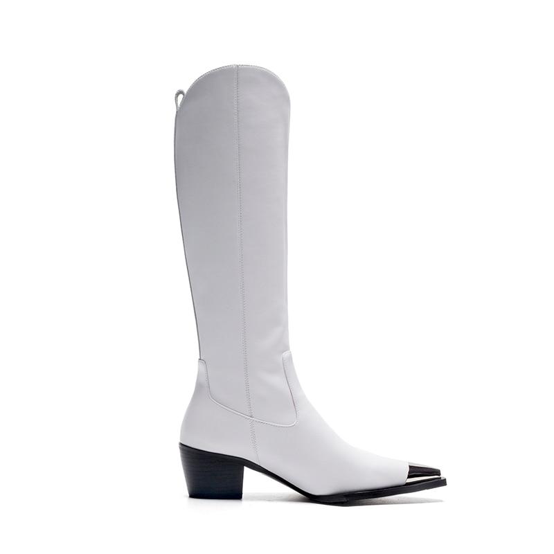Mode Bottes Vache En blanc Boot Haute Caoutchouc Genou Pointu Hiver Cuir Wetkiss Bout Femme Chaussures Talons Noir Épais Nouveau 2018 6X5dxH