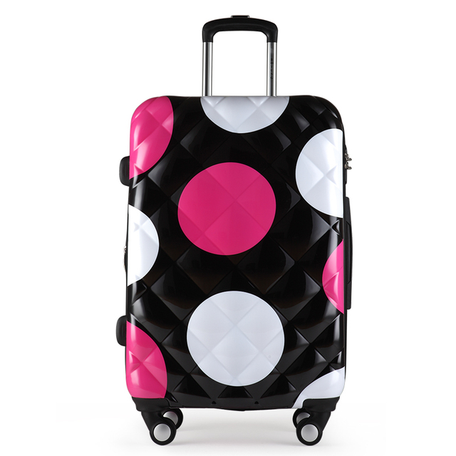 "Girls Dot Pattern Luggage&Women Travel Suitcase ABS + PC Universal Wheels Trolley Luggage Bag 20"" 24"" 28"" inches Rolling Luggage"