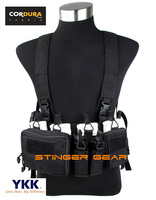 TMC 7.62 Tactical Chest Rig Black Cordura Military Airsoft Chest Rig Gear+Free shipping(SKU12050822)
