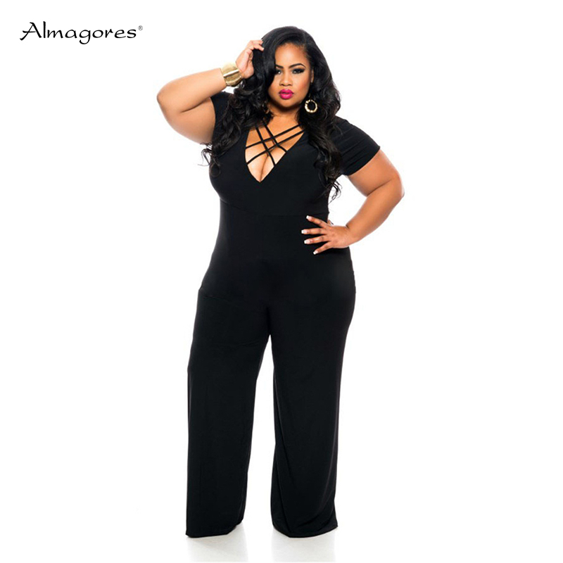 Fashion Women Bandage V Neck Jumpsuits Overalls Fitness Bodysuit Rompers Womens Jumpsuit Plus Size 3XL Playsuit Sexy Overalls