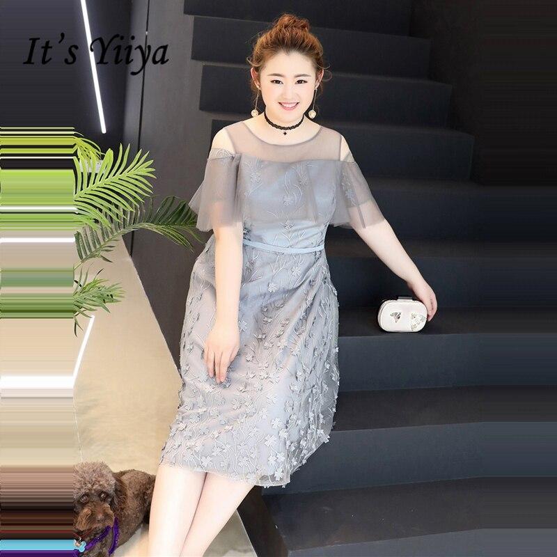 It's YiiYa Cocktail Dress Short Sleeve Flower Appliques Lace Fashion Designer Elegant Formal Dress Party Gown DM025