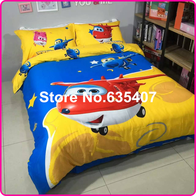 Kids 34pcs 100 Cotton Carton Super Wings Bedding Set Duvet Cover