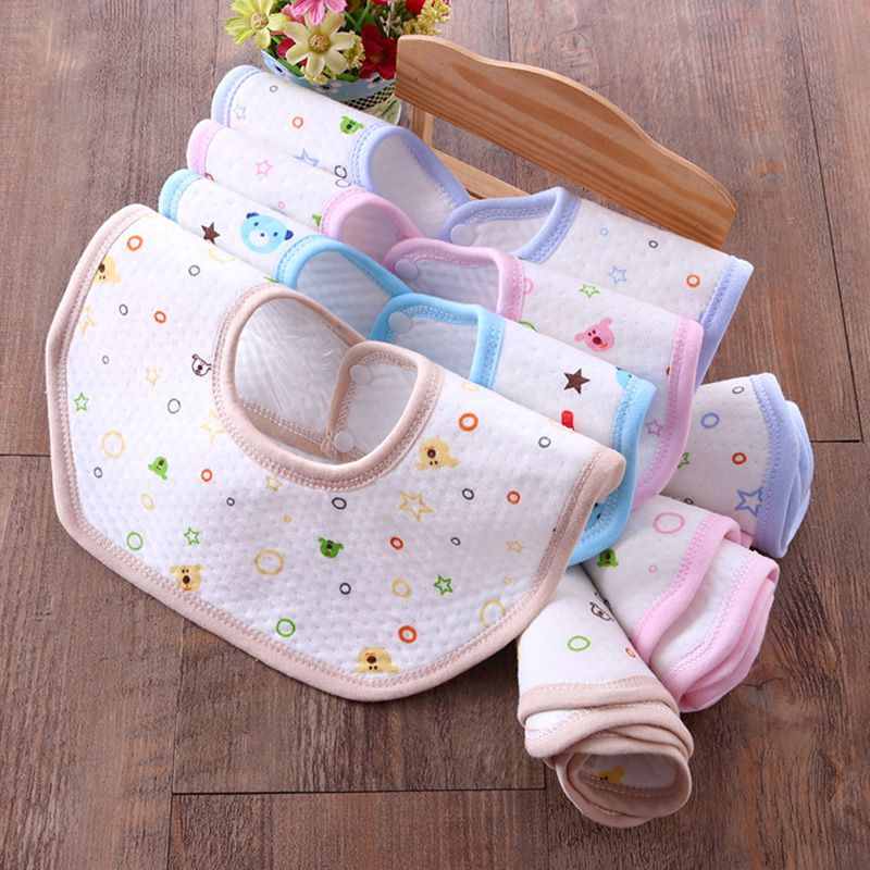 2018 Children Cotton Octagon Bibs Infant Baby Print Cartoon Mouth Water Towel Bib Color Dots Newborn Baby Bibs