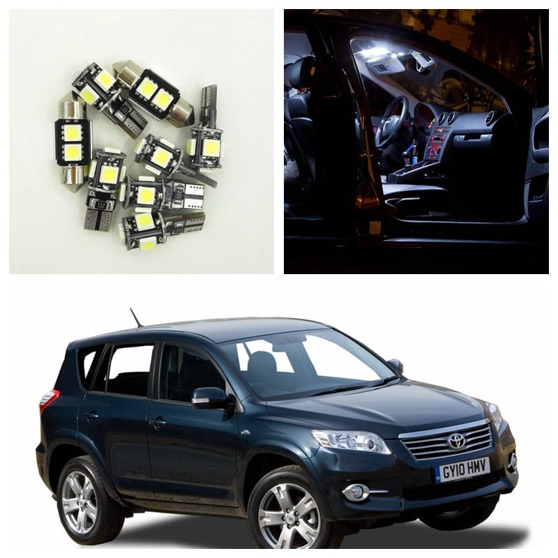 10pcs Xenon White Car Interior LED bulbs Package Kit For 2006-2012 Toyota RAV4 Map Dome License Plate Light Toyota-B-10 shanghai chun shu chunz chun leveled kp1000a 1600v convex plate scr thyristors package mail