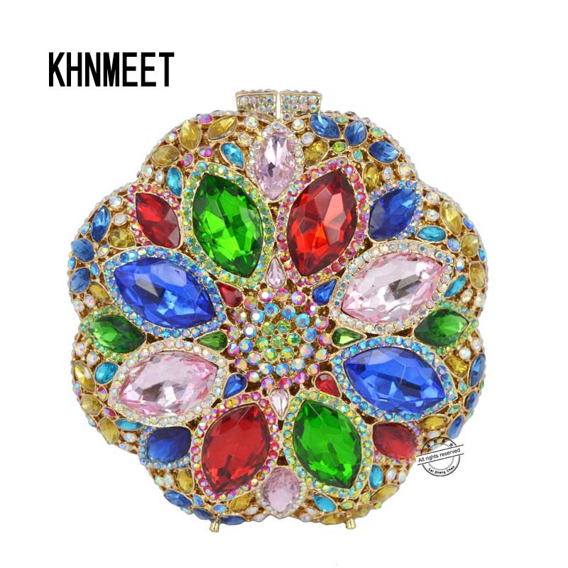Top Design Red Crystal Evening Bag Roundness Luxury Clutch bags Wedding Party Purse Prom Handbag Silver Banquet Bag Day Clutches luxury real new arrival day clutches diamonds flower women bag banquet crystal handbag wedding party handbags night clubs purse