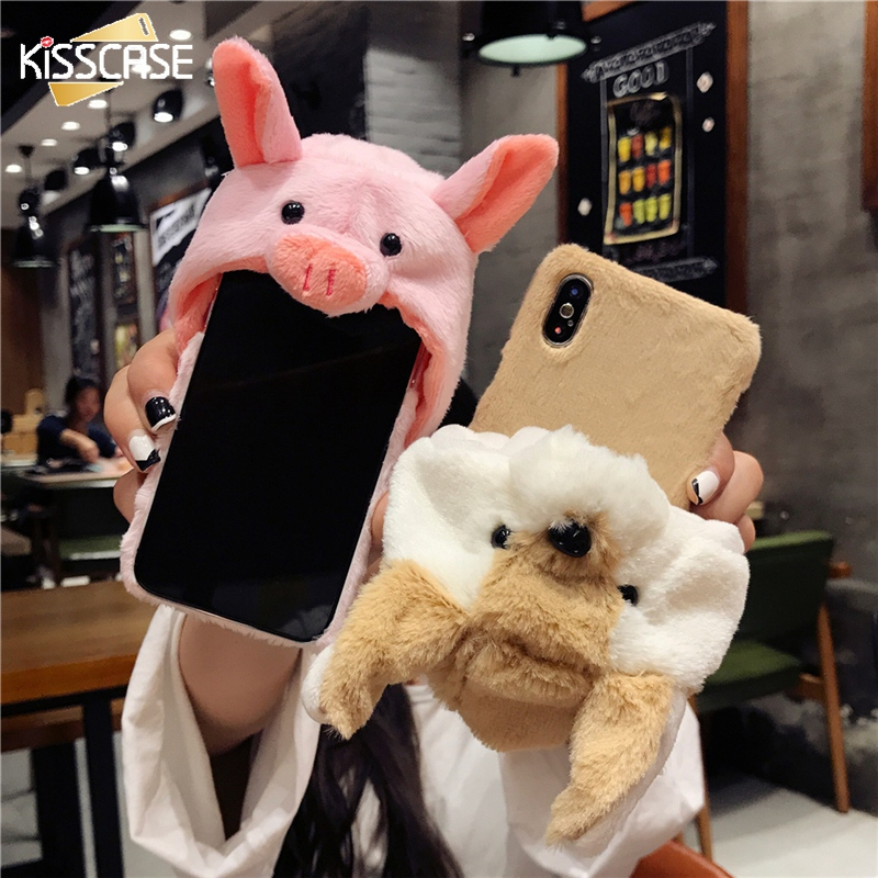 KISSCASE Cute Animal Case For iPhone 6 6S Plus Cover Rabbit Fur...