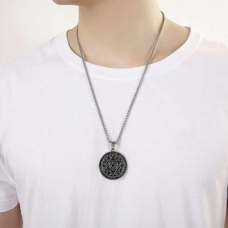 Męskie ze stali nierdzewnej wisiorek gwiazda dawida talizman pentagram salomona pieczęć naszyjnik biżuteria żydowska prezenty