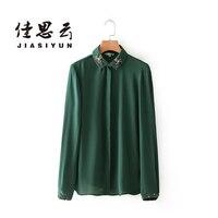 JIASIYUN 2017 Spring Autumn Women European Style Casual Green Blouse Embroidery Pearl Turn Down Collar Long Sleeve Shirts