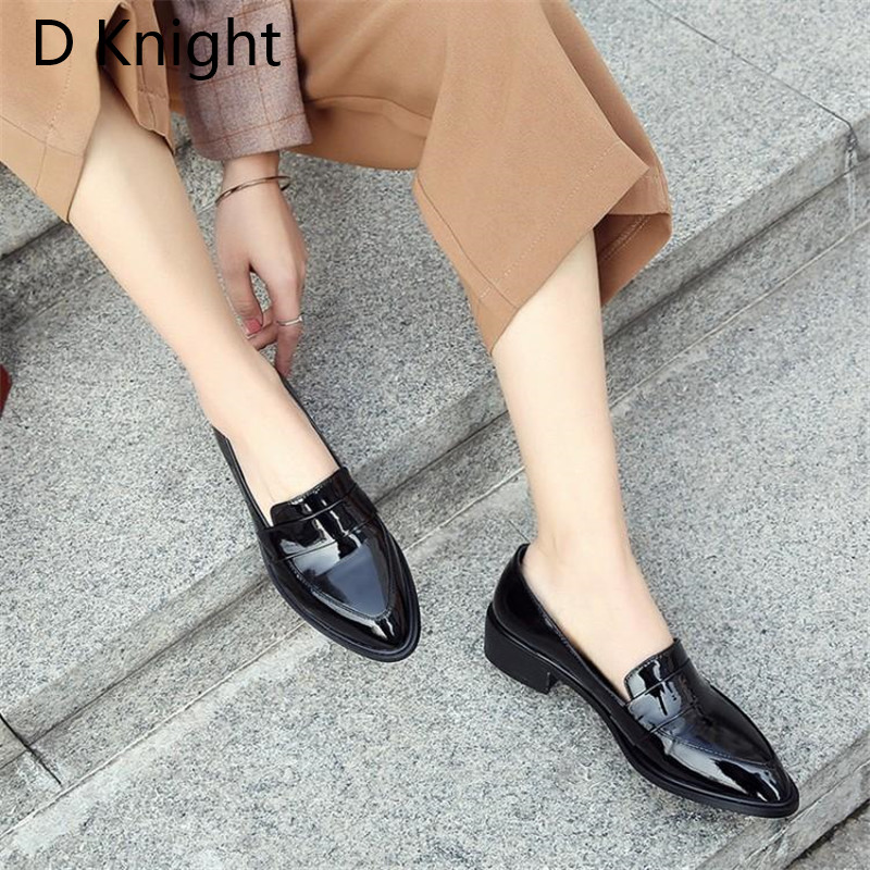 Large Size 32-43 Lady Casual Flat Loafers Shoes Fashion Patent Leather Pointed Toe Women's Flats British Black Red Women Oxfords (4)