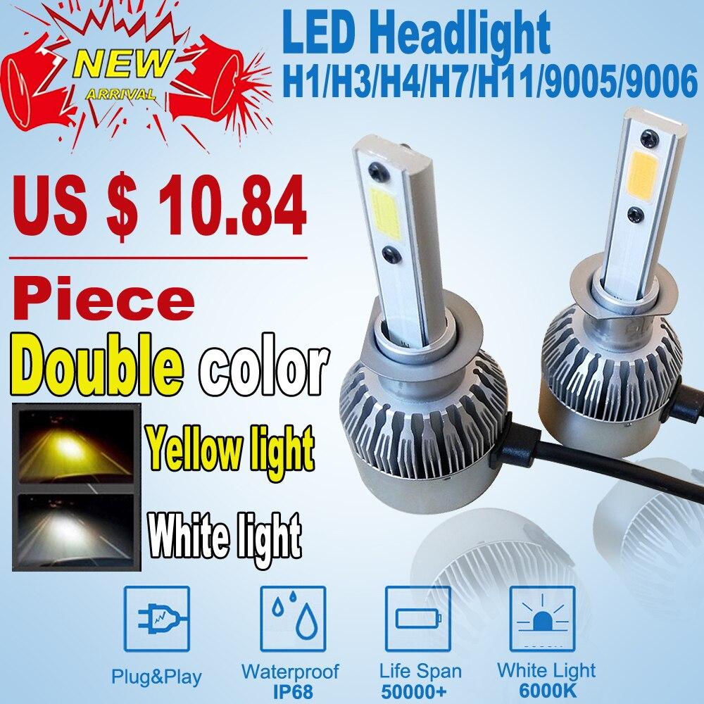 NEW H7 H4 led Car Headlights Automobiles Headlamp Led Light Bulbs H1 H3 9005 9006 H11 Yellow white 6000K Fog Lamps car styling