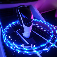 1M LED Luminous Charging Cable For Huawei Honor Note 10 Xiaomi Mi8 Max 3 HTC Micro USB Type C Mobile Phone Charger Flowing Cabel