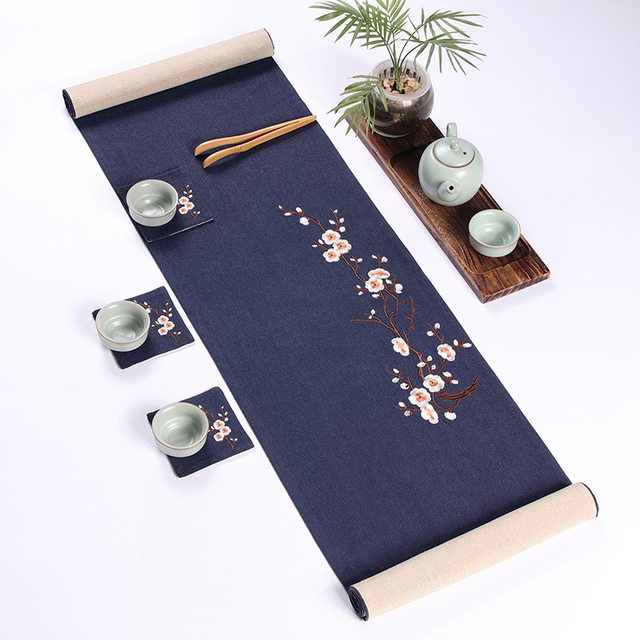 Japanese Style Double Linen Embroidery Plum Table Runner Tea Ceremony Tea  Mats Kung Fu Tea Set