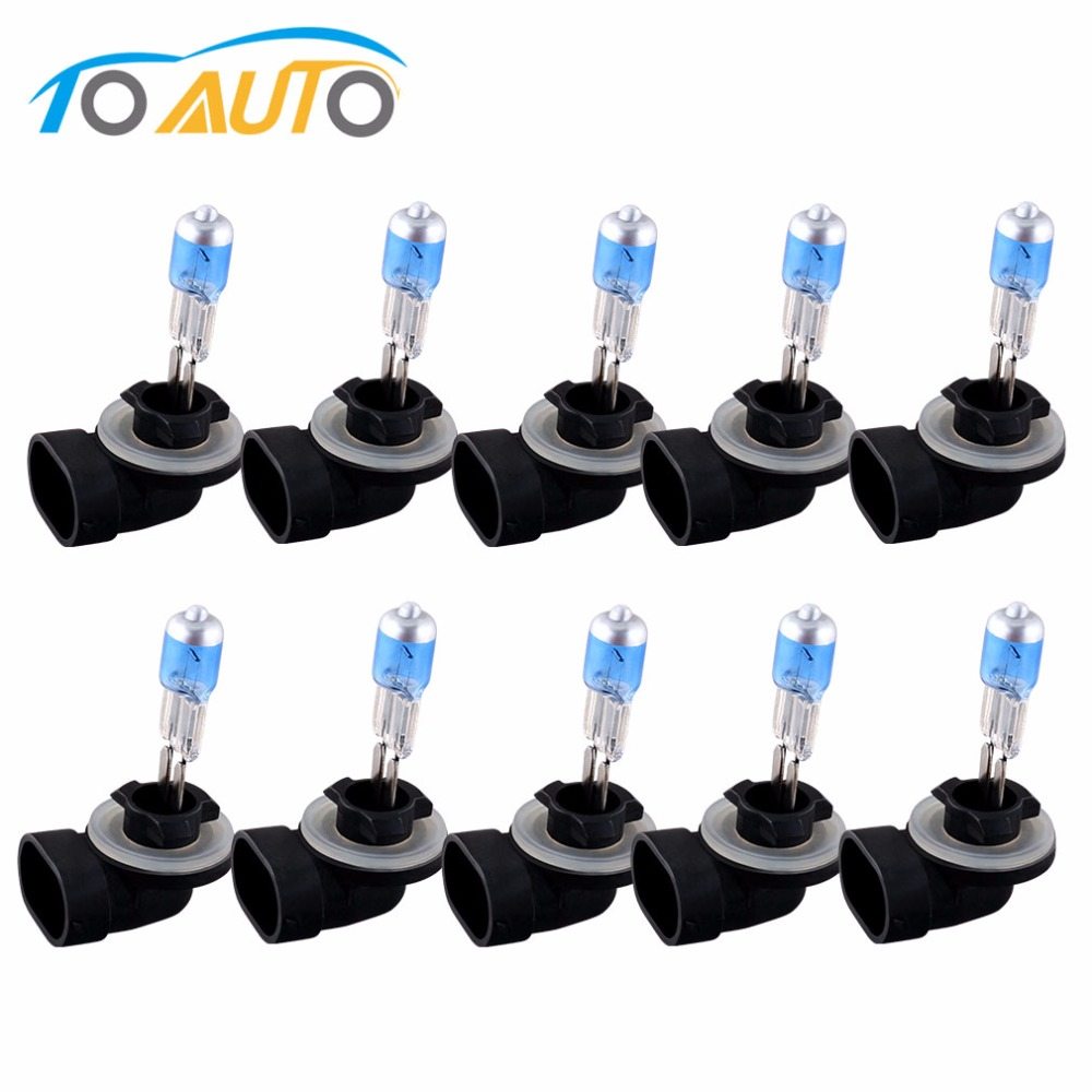 10pcs 881 894 Super Bright White Fog Halogen Bulb Hight Power 27W Car Head Light Lamp External Headlight H27 Promotion