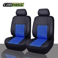 Car-pass Universal de Cuero de LA PU Auto Car Seat Covers 2 Asiento Delantero Cubre Ajuste Para Bmw Hyundai Mazda Todo coches