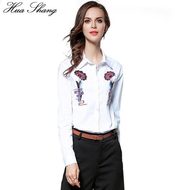 7470f49d2e Hua Shang Cotton Embroidery Shirt Women Long Sleeve Autumn White Blouse  Lady OL Style Business Work Office Shirt Women Clothing