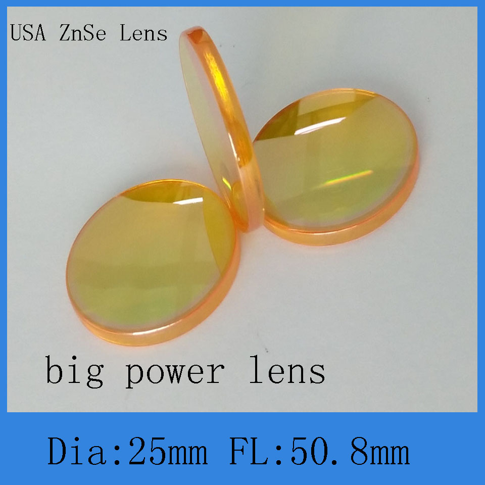 2001324448d4e CVD ZnSe lente laser de co2 para 25mm de diâmetro 50.8mm de comprimento  foco para co2 gravação a laser e máquina de corte